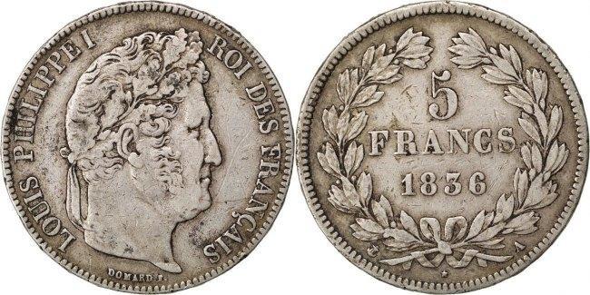 5 Francs 1836 A Frankreich Louis-Philippe VF(20-25)
