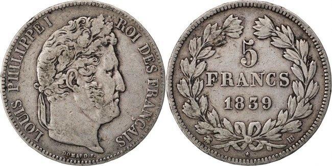 5 Francs 1839 BB Frankreich Louis-Philippe VF(30-35)