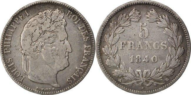 5 Francs 1840 B Frankreich FRANCE, Louis-Philippe, Rouen, KM #749.2, Silver,... S