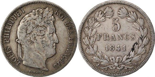 5 Francs 1841 A Frankreich Louis-Philippe VF(30-35)