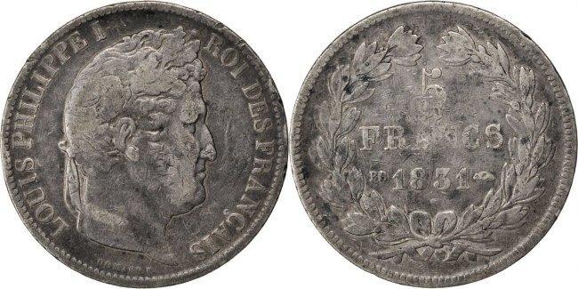 5 Francs 1831 BB Frankreich Louis-Philippe F(12-15)