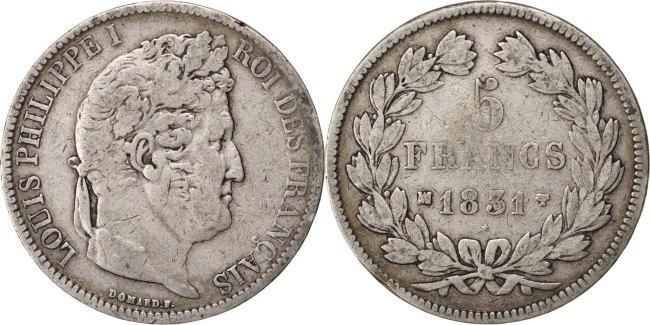 5 Francs 1831 MA Frankreich Louis-Philippe VF(20-25)