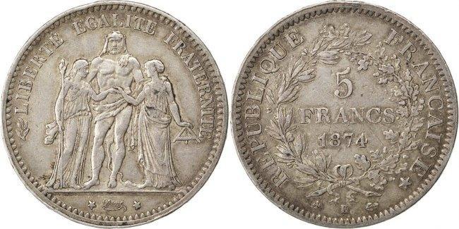 5 Francs 1874 K Frankreich Hercule EF(40-45)