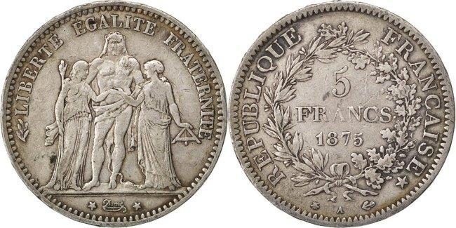 5 Francs 1875 A Frankreich Hercule VF(30-35)