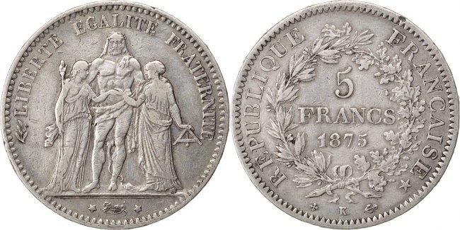 5 Francs 1875 K Frankreich Hercule EF(40-45)