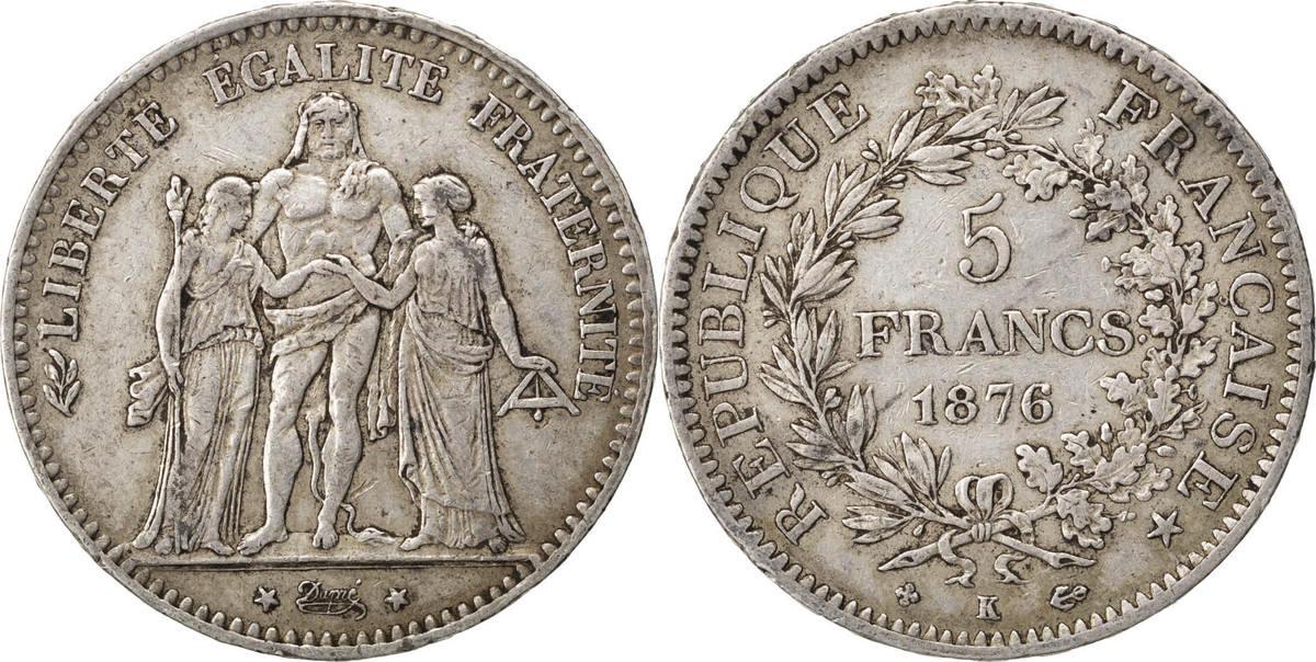 5 Francs 1876 K Frankreich Hercule EF(40-45)