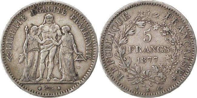 5 Francs 1877 K Frankreich Hercule VF(30-35)
