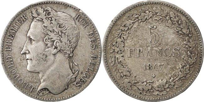 5 Francs, 5 Frank 1847 Belgien Leopold I EF(40-45)