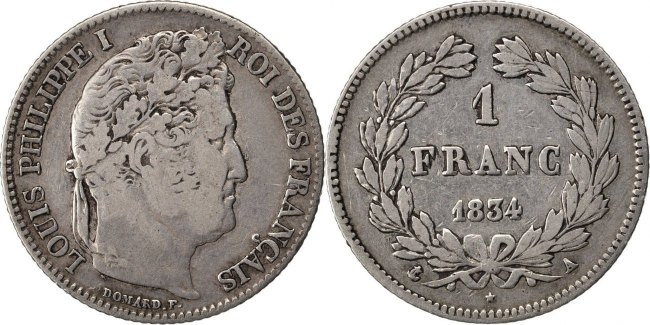 Franc 1834 A Frankreich Louis-Philippe VF(30-35)