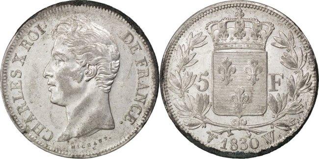 5 Francs 1830 W Frankreich Charles X AU(50-53)