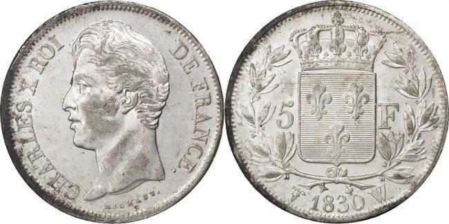 5 Francs 1830 W Frankreich Charles X AU(55-58)