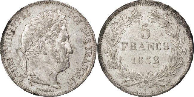 5 Francs 1832 W Frankreich Louis-Philippe AU(55-58)
