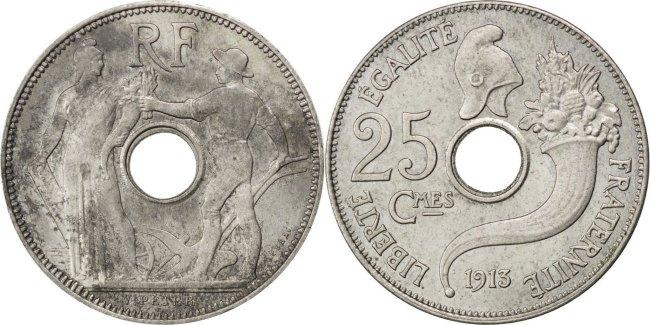 25 Centimes 1913 Frankreich AU(55-58)