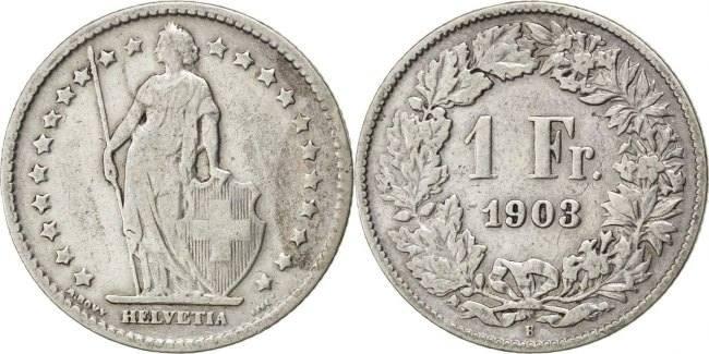 Franc 1903 B Schweiz EF(40-45)
