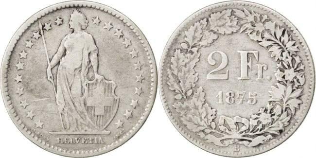 2 Francs 1875 B Schweiz VF(20-25)