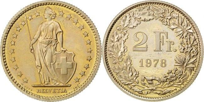 2 Francs 1978 Schweiz MS(63)