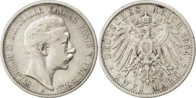 2 Mark 1904 A Deutsch Staaten Wilhelm II EF(40-45)