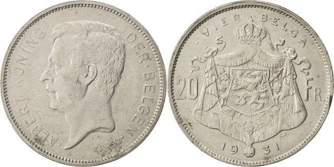 20 Francs, 20 Frank 1931 Belgien EF(40-45)