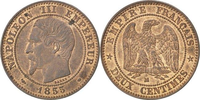 2 Centimes 1855 MA Frankreich Napoléon III Napoleon III AU(55-58)