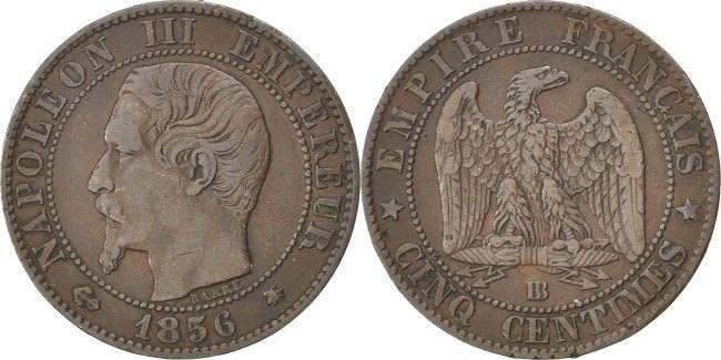 5 Centimes 1856 BB Frankreich Napoléon III Napoleon III EF(40-45)