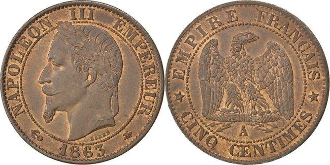 5 Centimes 1863 A Frankreich Napoléon III Napoleon III MS(63)
