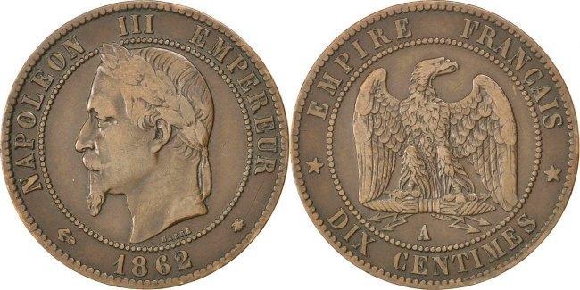 10 Centimes 1862 A Frankreich Napoléon III Napoleon III EF(40-45)