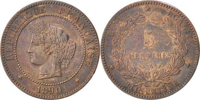 5 Centimes 1890 A Frankreich Cérès AU(50-53)