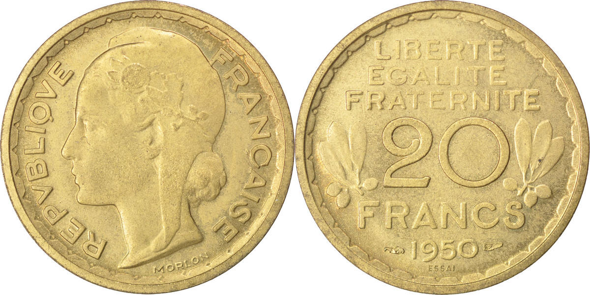 20 Francs 1950 Frankreich FRANCE, KM #Pn112, Cupro-Aluminium, Gadoury #208.2,. VZ+