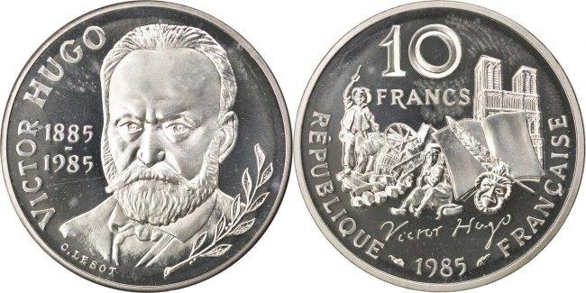 10 Francs 1985 Frankreich Centennial - Death of Victor Hugo MS(63)
