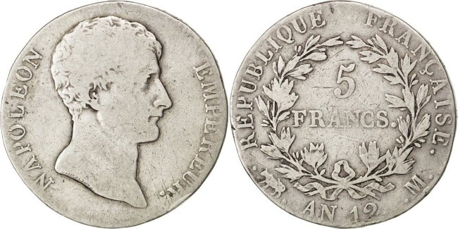 5 Francs 1804 M Frankreich Napoléon I VF(20-25)