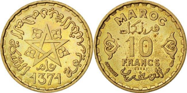 10 Francs 1951 (a) Marokko MS(63)