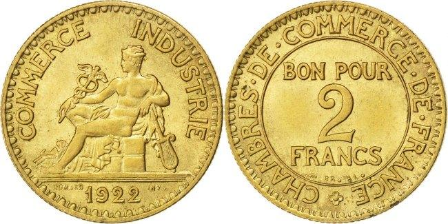 2 Francs 1922 Frankreich French Chamber of Commerce Chambre de commerce MS(60-62)