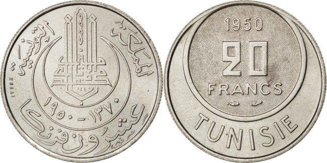 20 Francs 1950 (a) Tunesien Muhammad al-Amin Bey AU(55-58)