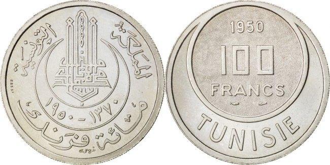 100 Francs 1950 (a) Tunesien Muhammad al-Amin Bey MS(60-62)