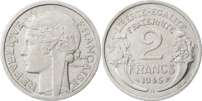 2 Francs 1945 B Frankreich Morlon AU(50-53)