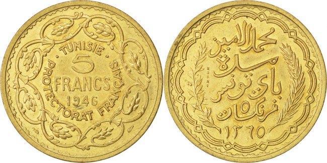 5 Francs 1946 (a) Tunesien Muhammad al-Amin Bey AU(50-53)