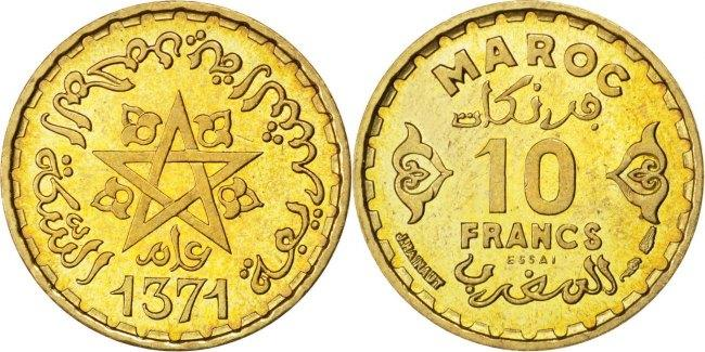 10 Francs 1952 (a) Marokko MS(60-62)
