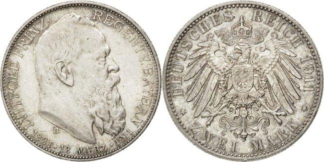 2 Mark 1911 D Deutsch Staaten 90th Birthday of Prince Regent Luitpold Otto MS(60-62)