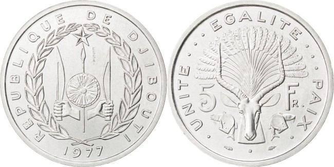 5 Francs 1977 Dschibuti MS(63)