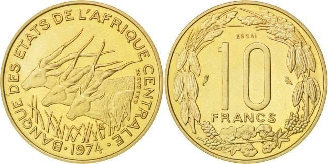 10 Francs 1974 Paris Zentralafrikanische Staaten MS(63)