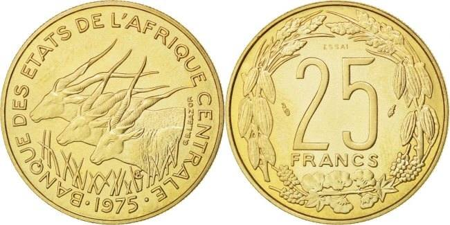 25 Francs 1975 Paris Zentralafrikanische Staaten MS(63)