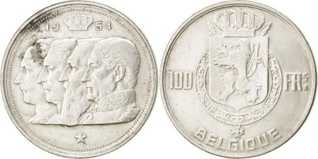 100 Francs, 100 Frank 1954 Belgien EF(40-45)