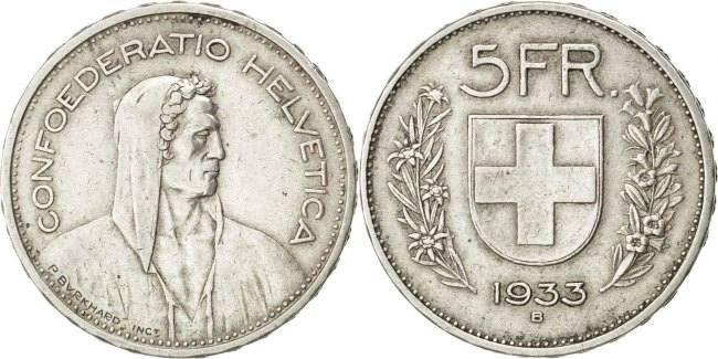5 Francs 1933 B Schweiz EF(40-45)