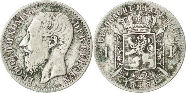 Franc 1886 Belgien Leopold II VF(30-35)