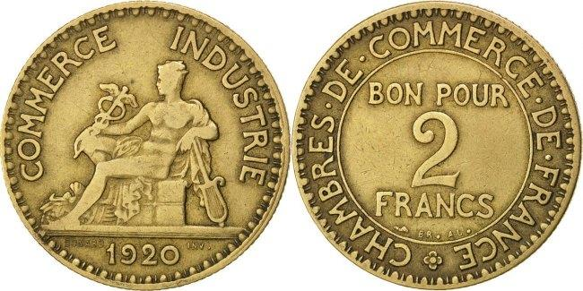 2 Francs 1920 Frankreich French Chamber of Commerce Chambre de commerce VF(30-35)
