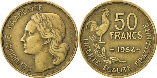 50 Francs 1954 Frankreich Guiraud VF(30-35)