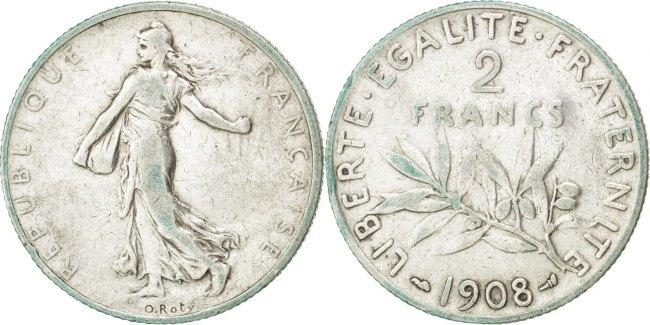2 Francs 1908 Frankreich Semeuse EF(40-45)