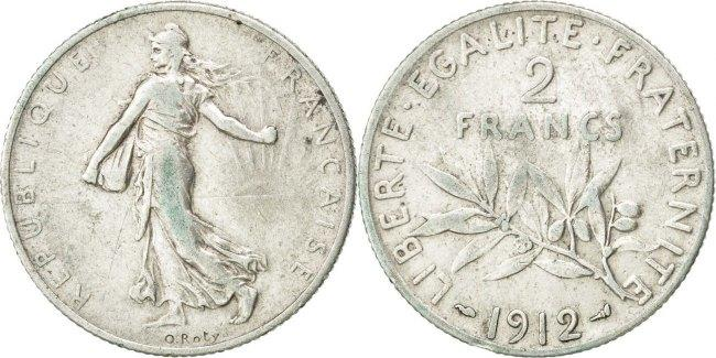2 Francs 1912 Frankreich Semeuse EF(40-45)