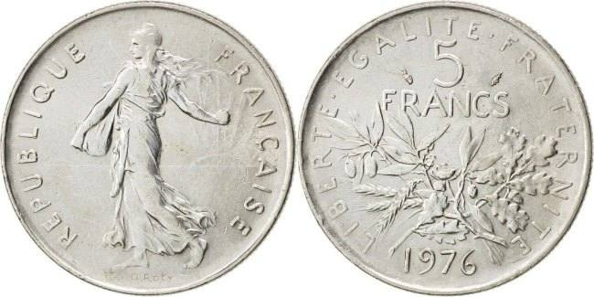5 Francs 1976 Frankreich Semeuse MS(60-62)