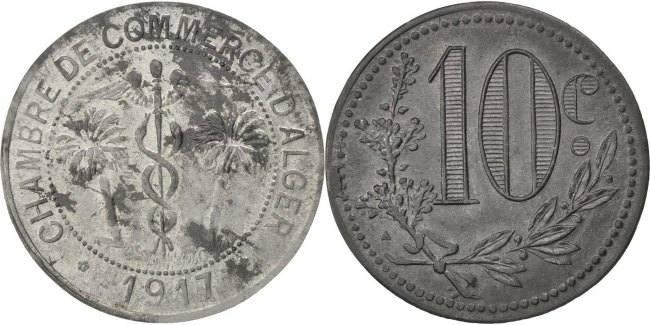 10 Centimes 1917 Algeria EF(40-45)